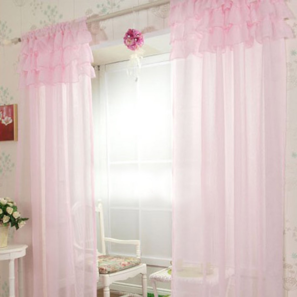 Ruffle Sheer Curtain Set, Light Pink