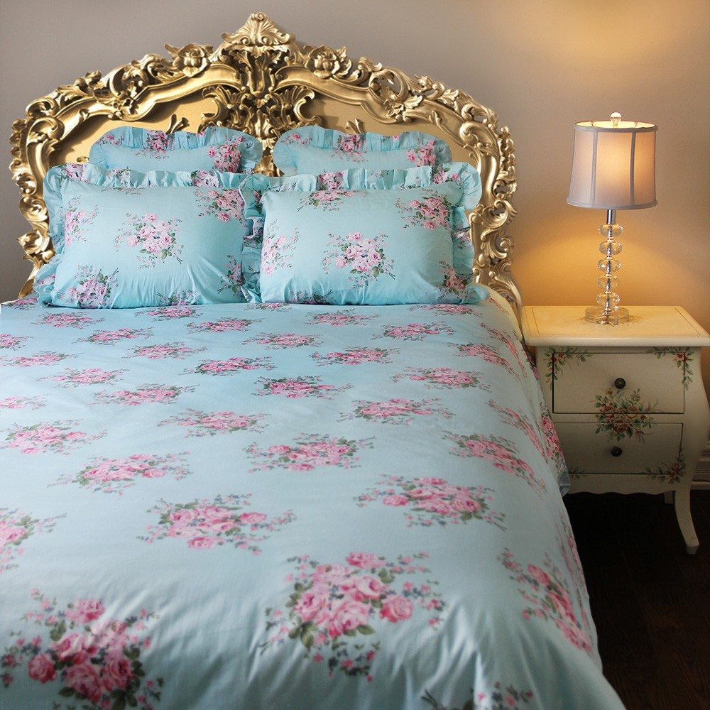 shabby blue pink rose ruffle duvet cover florals bedding. Black Bedroom Furniture Sets. Home Design Ideas