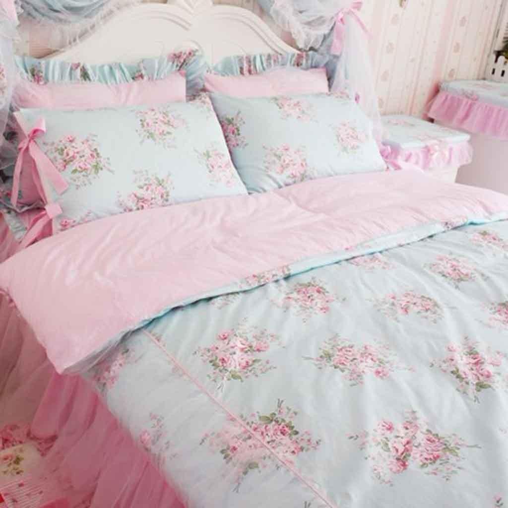 shabby blue rose twin bedding set. rose bedding