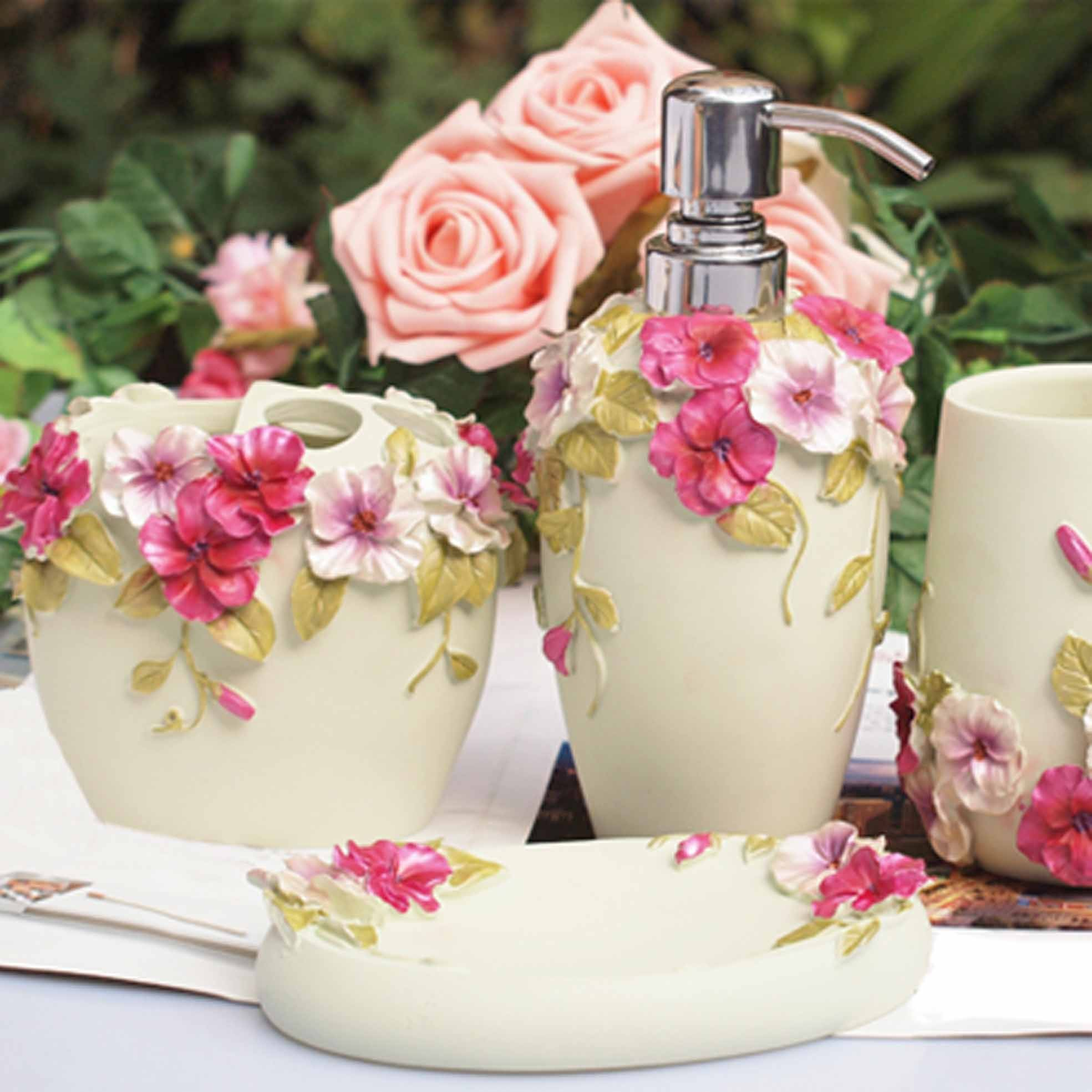 Shabby Chic White Bathroom Set