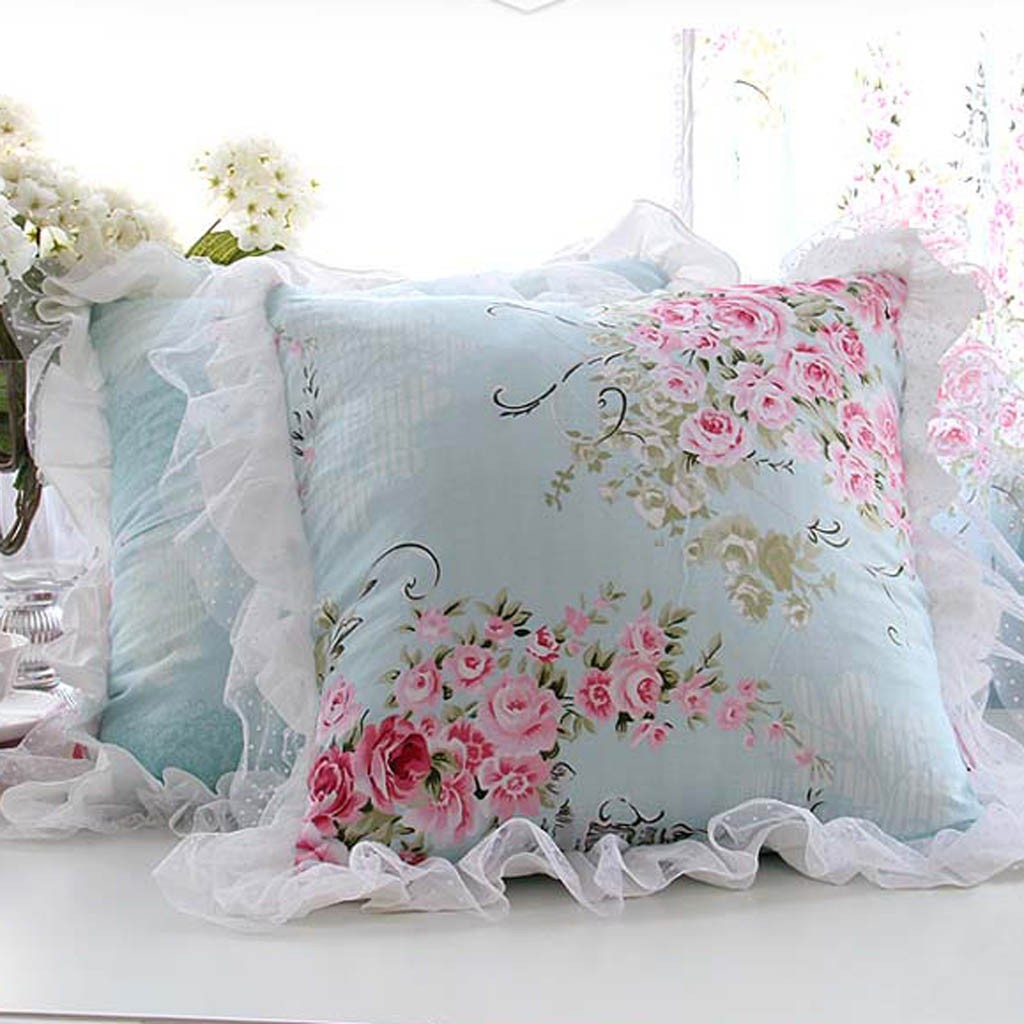 Victorian Outdoor Pillows : ruffle cushion