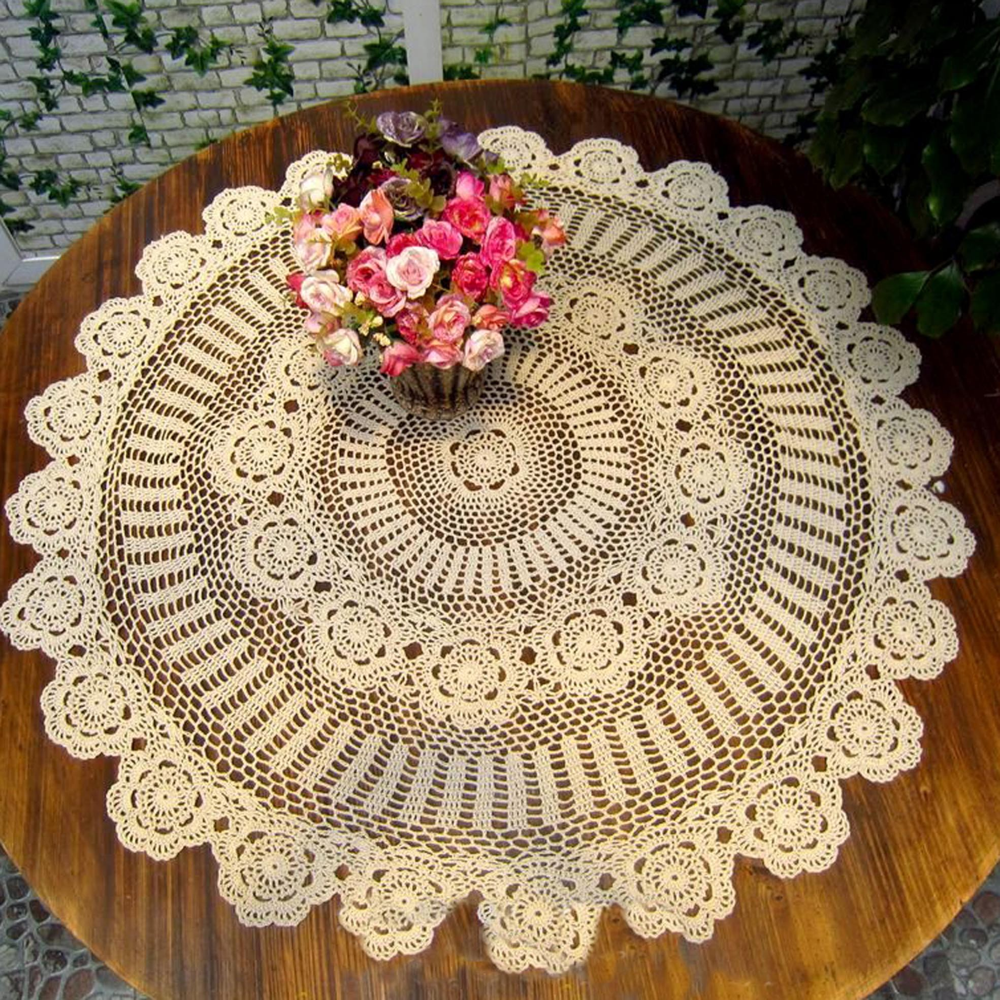 White Crochet Tablcloth