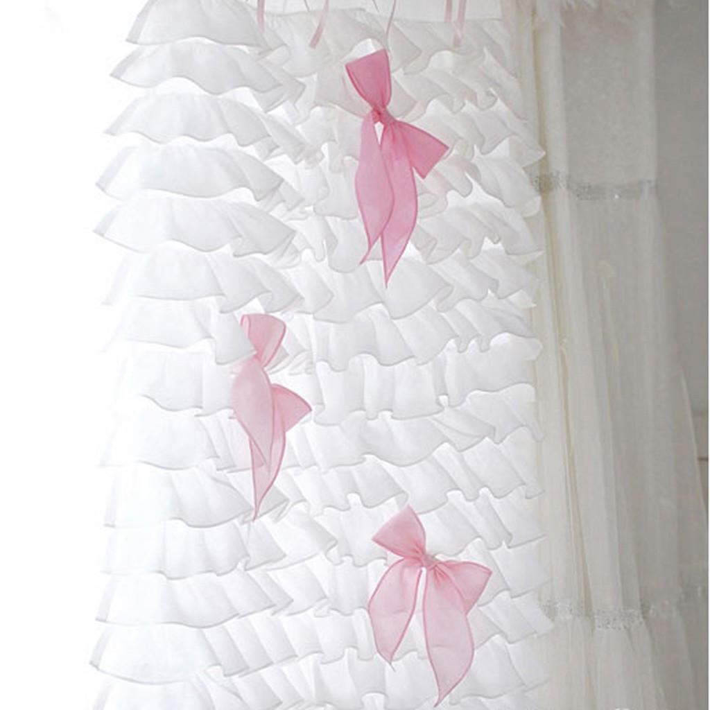 White ruffle curtain - White Waterfall Ruffle Curtain Set