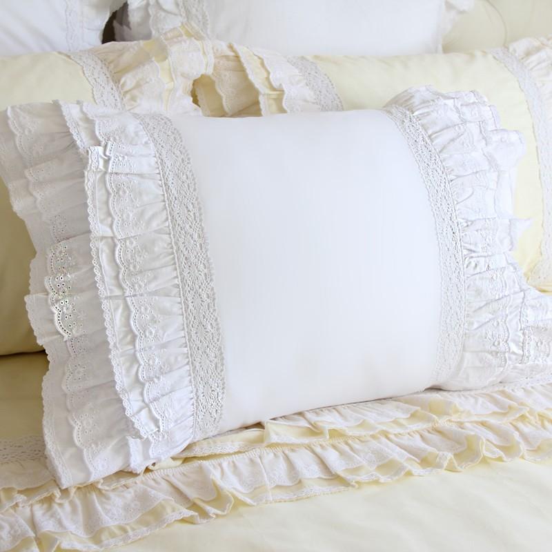 White Decorative Pillow Shams : lace pillow