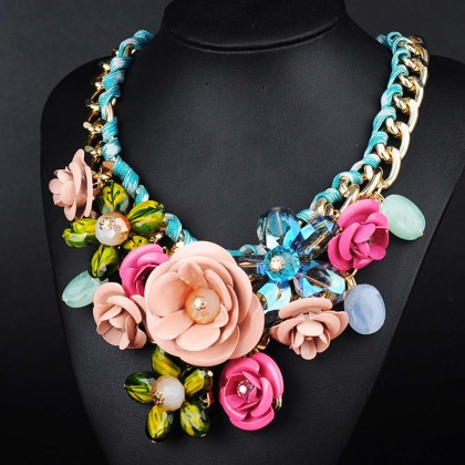 Metallic Rose Necklace