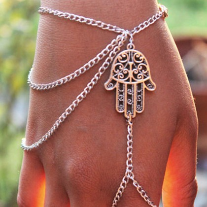 Hamsa Fatima Bracelet Finger Ring Bangle Slave Chain
