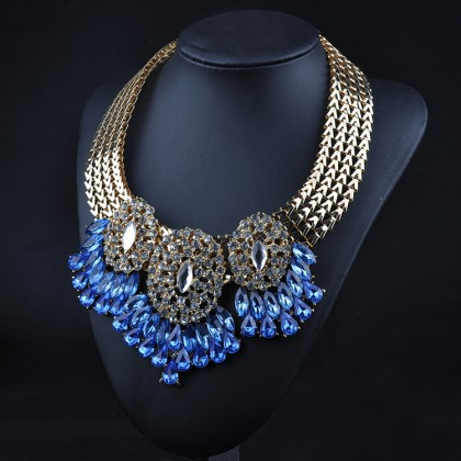 Queen's Blue Bib Necklace