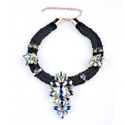 Crystal Dazzle Necklace-Blue