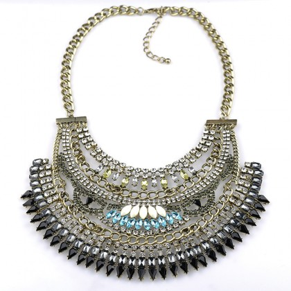 Cleopatra Crystal Bib Necklace-Black