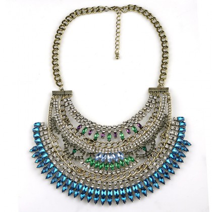 Cleopatra Crystal Bib Necklace-Blue