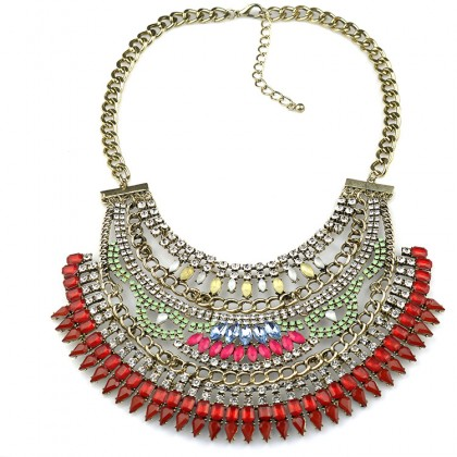 Cleopatra Crystal Bib Necklace-Red