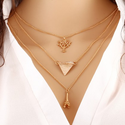 Lariat Triple Layer Tree Paris Eiffel Tower Triangle Necklace
