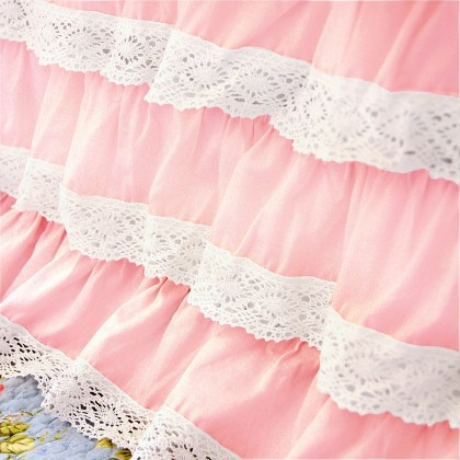 Light Pink Crochet Cotton Lace Ruffle Bed Skirt