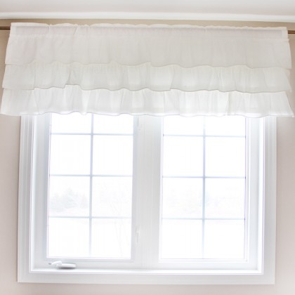 White Ruffled Valance-Clearance Sale