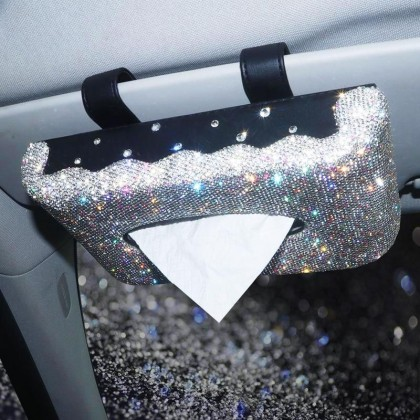 Car Visor Tissue Kleenex Holder Sparkle Bling Luxury Crystal Like Rhinestones