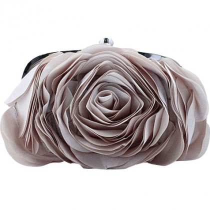 3D Rose Purse,  Almond