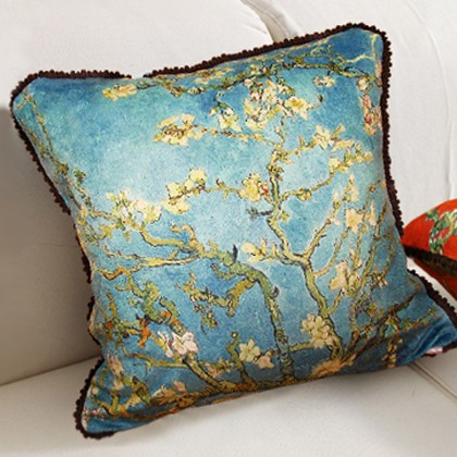 Almond Blossom Cushion Cover, Blue