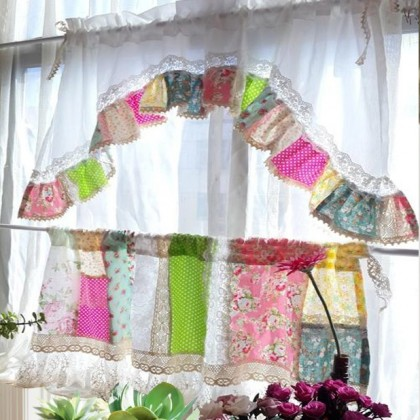 Country Ruffle Quilt Arch Valance