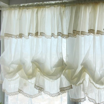 Vintage Cream White Sheet Balloon Curtain Shade