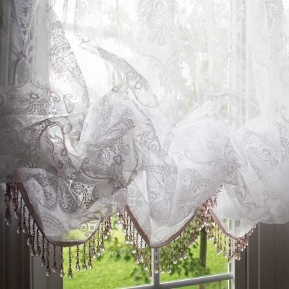 """Custom Made White Chic Baroque Balloon Curtain 140""""W x 74""""L"""