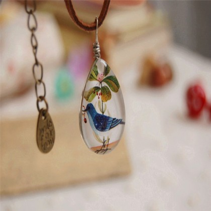 Blue Bird Pendant Necklace