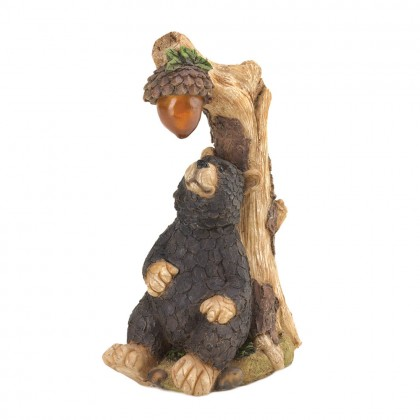 Black Bear Solar Statue Acorn Light