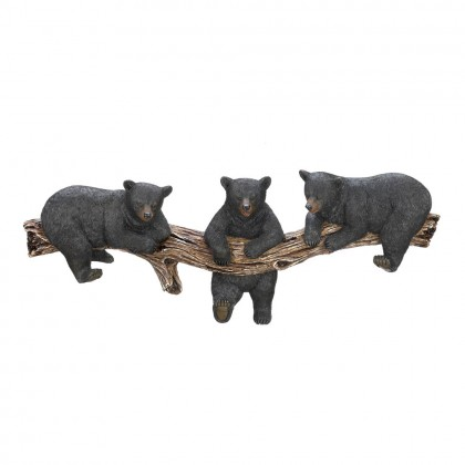 Black Bear Trio Tree Trunk Hooks