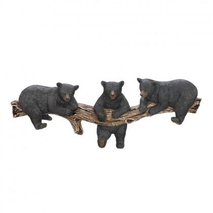 Black Bear Trio Tree Trunk Hooks