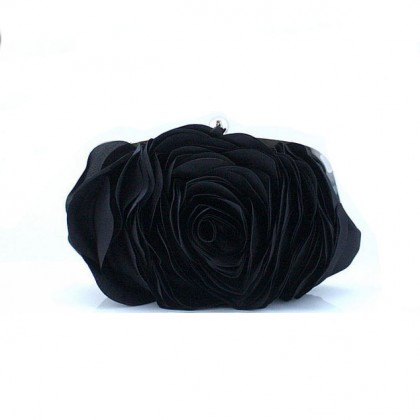 3D Rose Purse,  Black