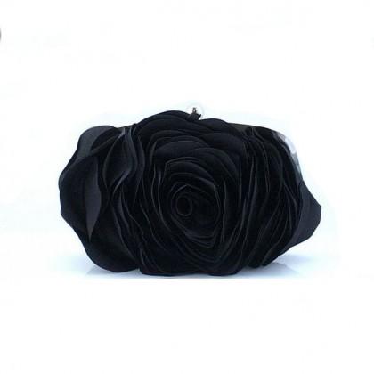 3D Rose Purse,  Black