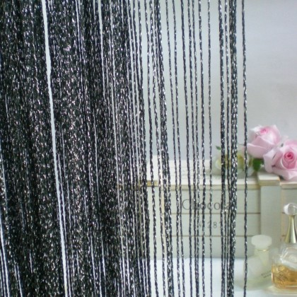 Luxury Black Silver String Curtain
