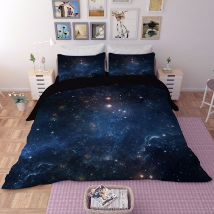 Galaxy Blue Stars Duvet Cover Set
