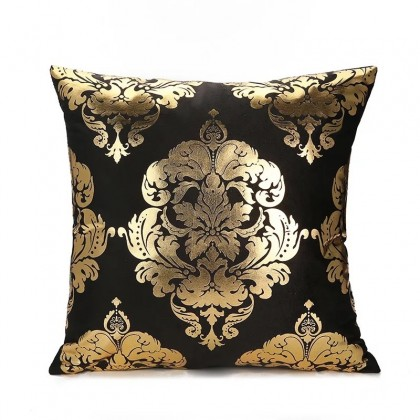 Gold Black Damask Cushion Cover
