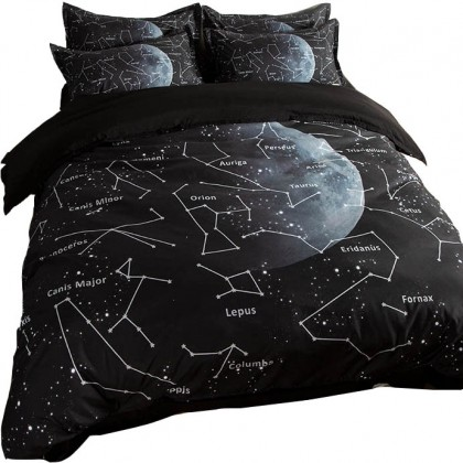 Constellation Black White Duvet Cover Set