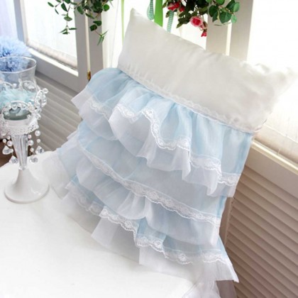 Blue Lacey Cushion Cover