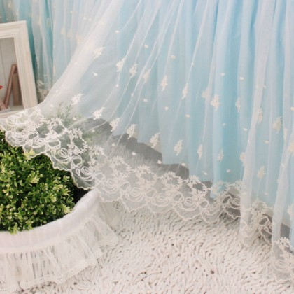 Lace Love Bed Skirt, Blue