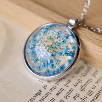 Blue Flower Botanical Necklace