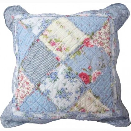 Blue Cottage Garden Quilt Cushion Cover
