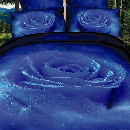 Mysterious Blue Rose Duvet Cover Set