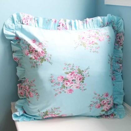 Blue Rose Ruffle Cushion Cover