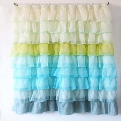Ocean Blue Gradient Ruffle Shower Curtain