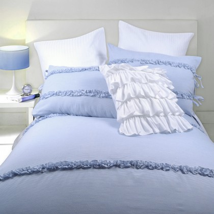 Country Blue Stripe Duvet Cover Set
