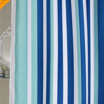 Blue Straight Stripe Shower Curtain