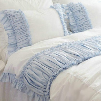 Shabby Blue White Ruffle Duvet Cover Set