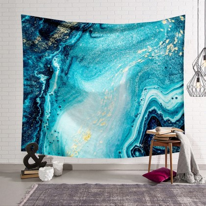Blue Abstract Marble Tapestry