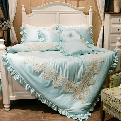 Ocean French Embroidery Lace Luxury Duvet Cover Set