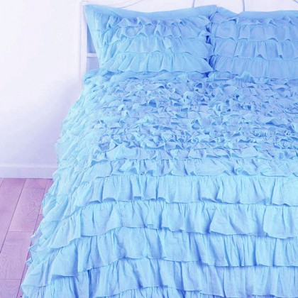Light Blue Waterfall Ruffle Bedding Set