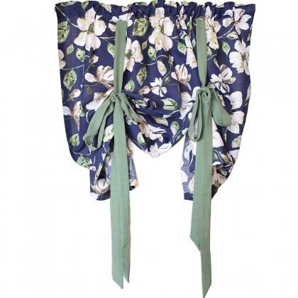 Botanical Blue Tie Up Balloon Curtain