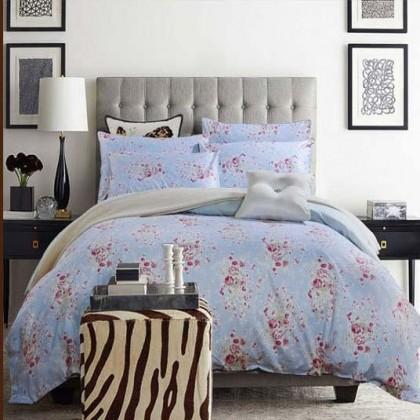 Blue Cottage Rose Egyptian Cotton Duvet Cover Set
