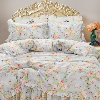 Blue Farmhouse Floral Duvet Cover Set